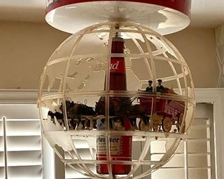 RARE Budweiser Clydesdale hanging carousel hanging world globe light