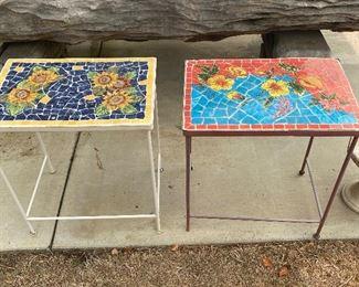 Tile top garden side tables