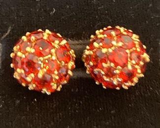 14K gold and garnet cluster ball earrings