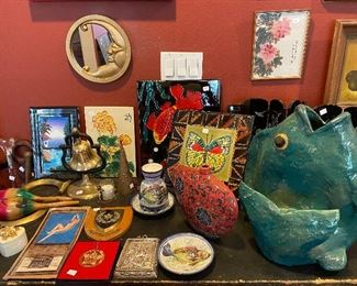 Misc. tiles and things and large Papier mache fish