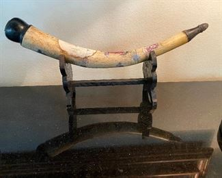 Chinese bone opium pipe hand painted and signed