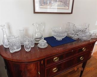 Lots of cut and beautiful glass. Waterford, Block, Gorham.