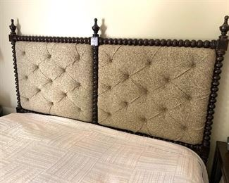 King size bed with tufted upholstered headboard (mattress/boxspring priced separately)