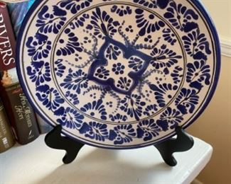Blue & white decorative plate and stand