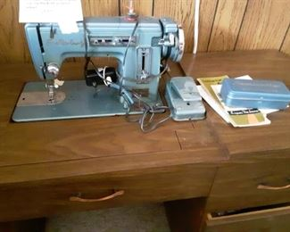 vintage super deluxe zig zag cabinet sewing machine