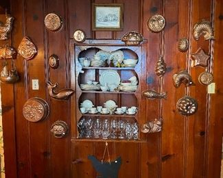 Incredible collection of copper molds, several china sets.