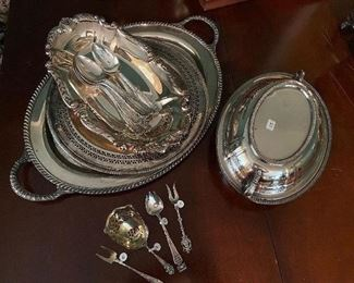 Several pieces of sterling and silver plate.