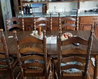 Solid wood dining room set seats six