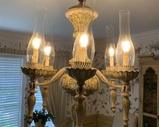 Matching chandelier to dining room table and chairs, China cabinet, side board