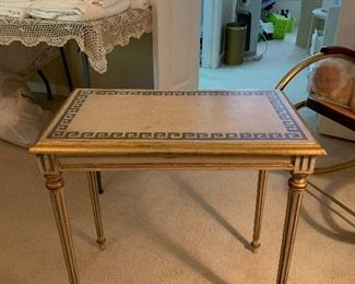 Vintage Neoclassical Gold and Beige Greek Wave Table