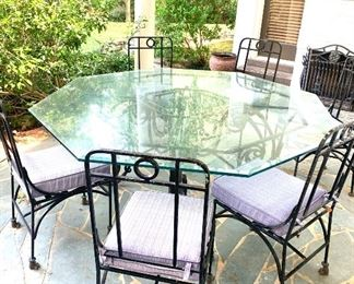"""81"""" dia. glass top table with 6 chairs."""