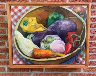 Hand painted fruit in frame