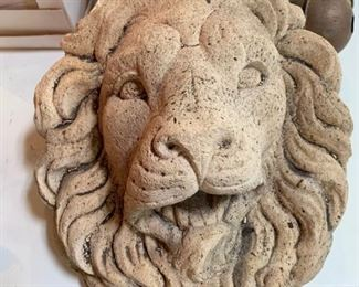 Cement Lion Head, very large, has water spigot in mouth