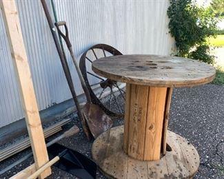 wood spool, metal wheel
