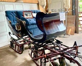 Beautiful custom sleigh, has interchangeable wheels and blades