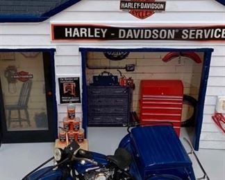 HD Service Station and blue harley
