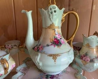 Hand painted china and dresser set