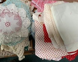 crocheted linens, aprons