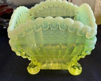 Vaseline glass unique square bowl