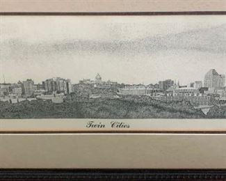 Twin Cities skyline framed art