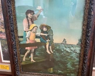 Hand colored print in magnificent frame