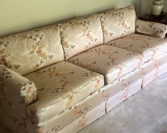 3. Henredon 3 Cushion Chinoiserie Sofa/ Peach and Pink Upholstery 87l x 33d x 28h $100.00