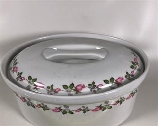 22. Porcelain Lidded Casserole, French. $40.00