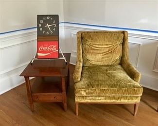 Erwin Lambeth for Tomlinson MCM chair and vintage 70's electric CocaCola clock