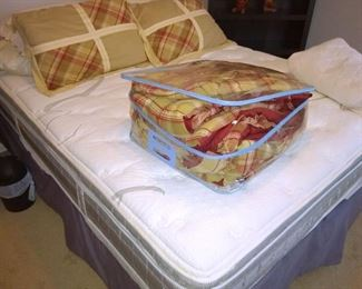 Queen bed and linens