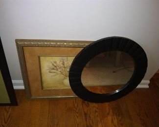 Framed art and mirrors