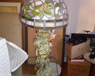 Stained glass lamp wiht Cherub