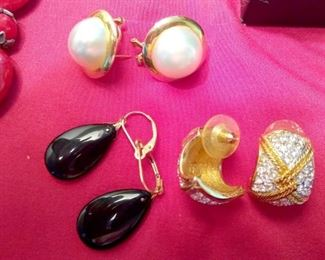 14k gold post earrings (two on left) Swarovski on right