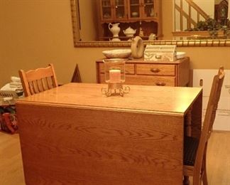 OAK DROP LEAF TABLE AND CHAIRS