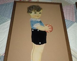 CHILDS PICTURE MADE WITH REAL HAIR
