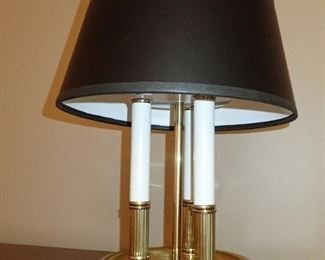 GOLD CANDLE STICK LAMP WITH BLACK SHADE