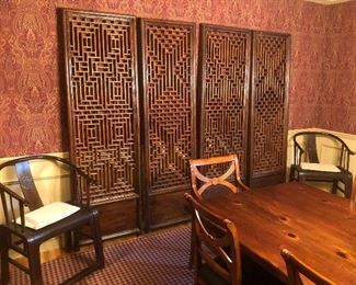 Set of four Chinese screens
