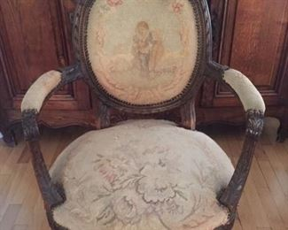 Chair, Louis XVI, Antique, Original tapestry needs TLC.  $400.00