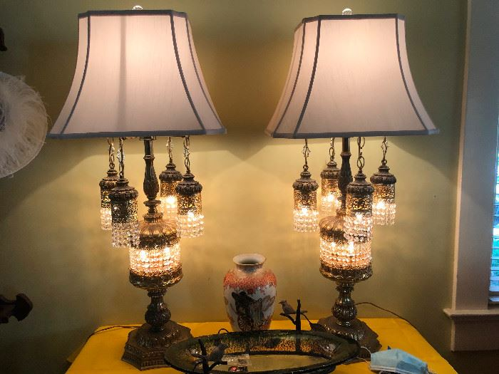 """Very Special Large Crystal and Brass Lamps. 3'6"""" Tall. They will cast a spell on you."""