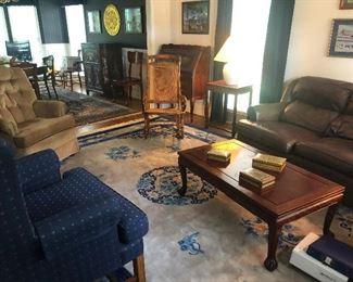 wide shot comfy family room