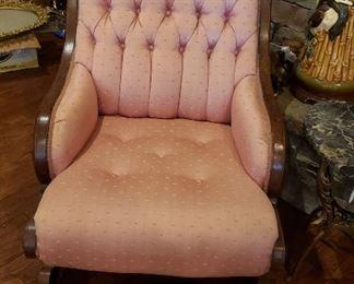 Sleepy Hollow pair of pink chairs, iron stool