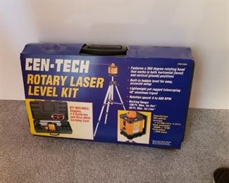CEN-TEC ROTARY LASER LEVEL KIT. BRAND NEW, NEVER USED, COMPLETE. $40.