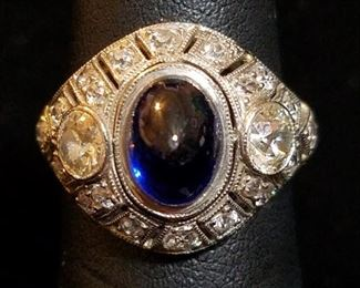 Cabochon Sapphire and Diamond Ring