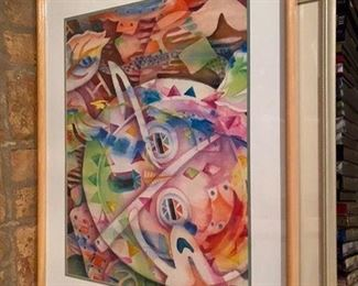 "5.$120  Mailande Turner original watercolor abstract 30"" x 24"" approx"