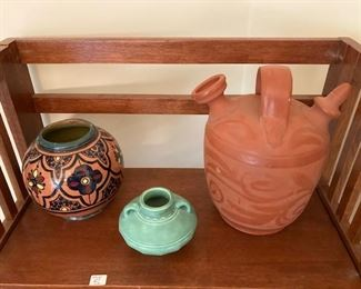 pottery pieces (Rookwood in the middle)