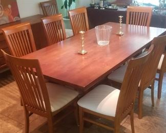Large dining table and 10 chairs