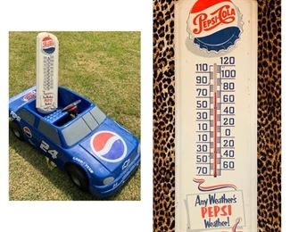 Vintage Pepsi Thermometer Sign and Vintage Pepsi Sponsored Battery Powered Toy Car