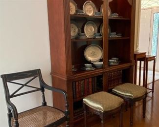 LIGHTED BOOK CASE/CHINA CABINET AND TASTEFUL SEATING