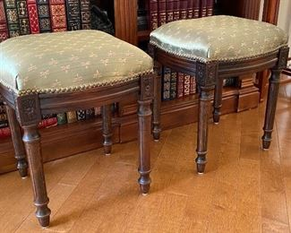 PAIR OF UPHOLSTERED STOOLS