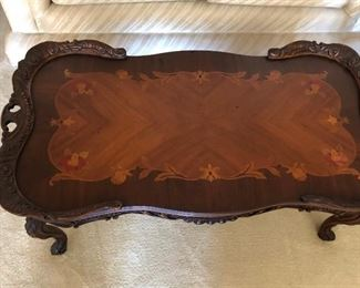 antique wood inlay coffee table