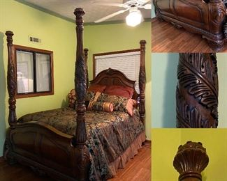Heavily Carved 4 Poster Queen Bed